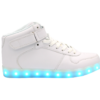 Galaxy LED Shoes Light Up USB Charging High Top Lace & Strap Men's Sneakers (White)