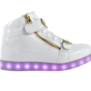 Galaxy LED Shoes Light Up USB Charging High Top Plated Lace & Strap Adult Sneakers (White Glossy/Gold)