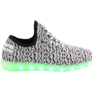 Galaxy LED Shoes Light Up USB Charging Low Top Knit Adult Sneakers (Grey/White)