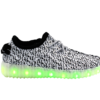 Galaxy LED Shoes Light Up USB Charging Low Top Knit Men's Sneakers (White/Grey)