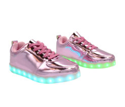 Galaxy LED Shoes Light Up USB Charging Low Top Men's Sneakers (Pink Glossy)