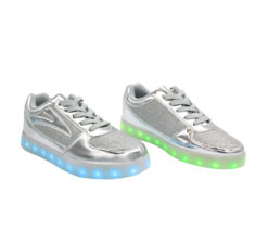Galaxy LED Shoes Light Up USB Charging Low Top Women's Sneakers (Silver Glossy Fusion)