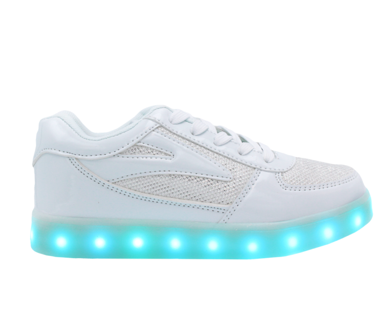 Galaxy LED Shoes Light Up USB Charging Low Top Kids Sneakers (White Glossy Fusion)