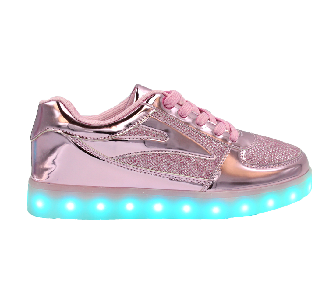 b4165819d7d7 Galaxy LED Shoes Light Up USB Charging Low Top Women s Sneakers (Pink  Glossy Fusion)