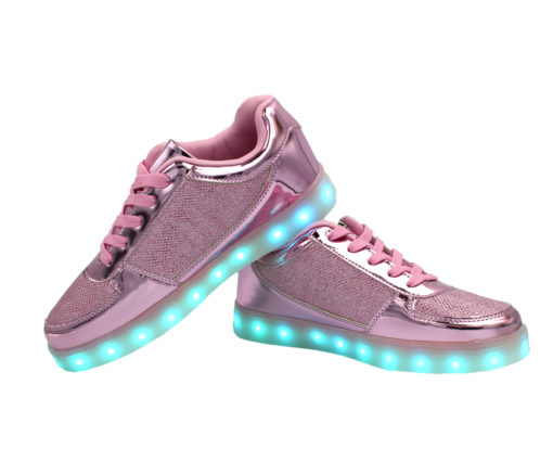 Galaxy LED Shoes Light Up USB Charging Low Top Women's Sneakers (Pink Glossy Fusion)