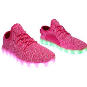 Galaxy LED Shoes Light Up USB Charging Low Top Knit Women Sneakers (Pink)