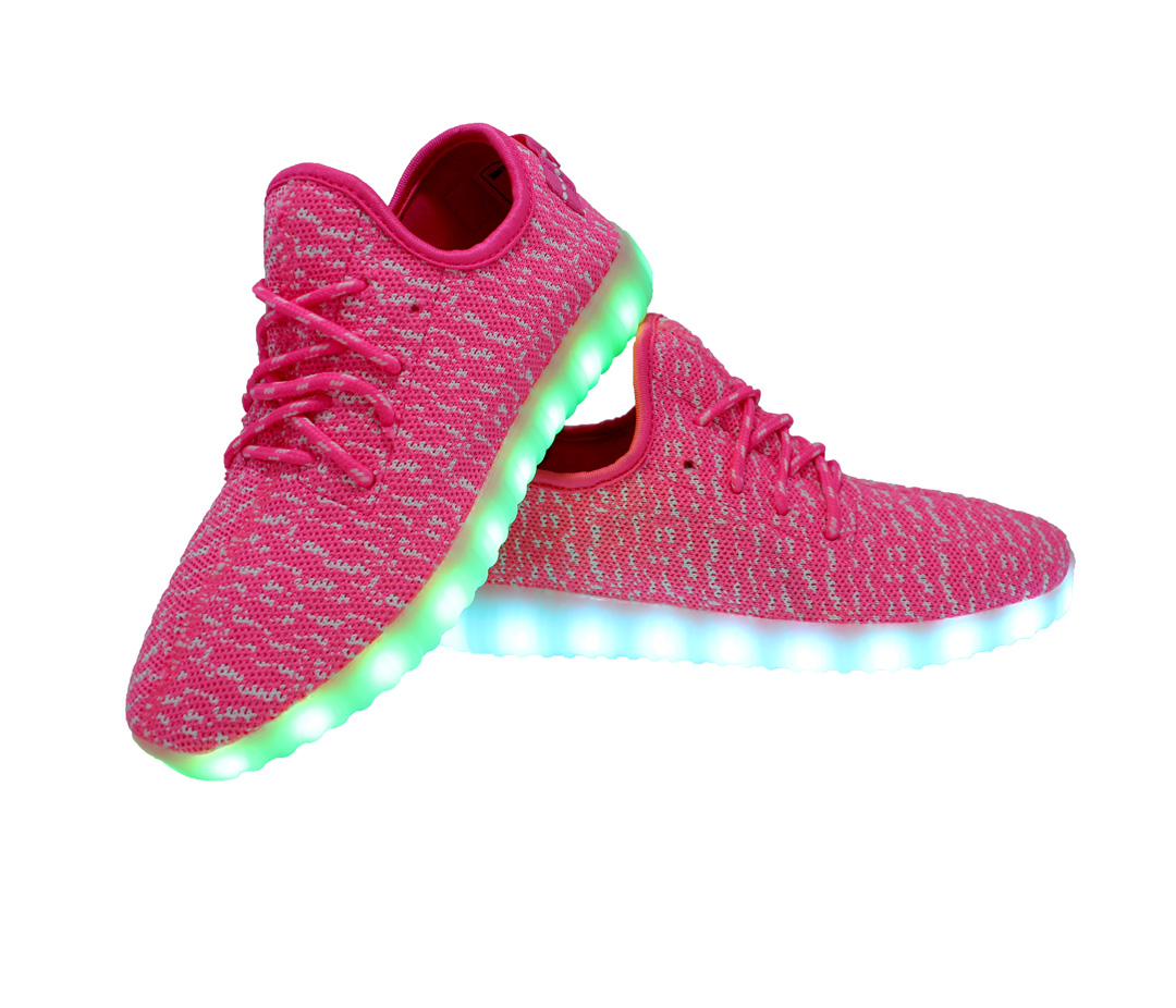 Galaxy LED Shoes Light Up USB Charging Low Top Knit Women Sneakers (Pink) c4e0abaed2